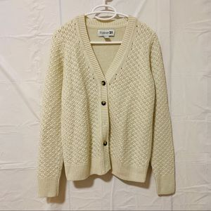 Forever 21 Knitted Cardigan in Cream Size M